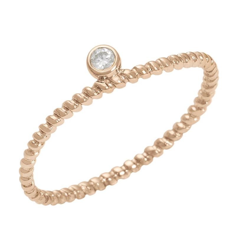 18k Rose Gold Diamond Solitaire Ring , Diamini 1