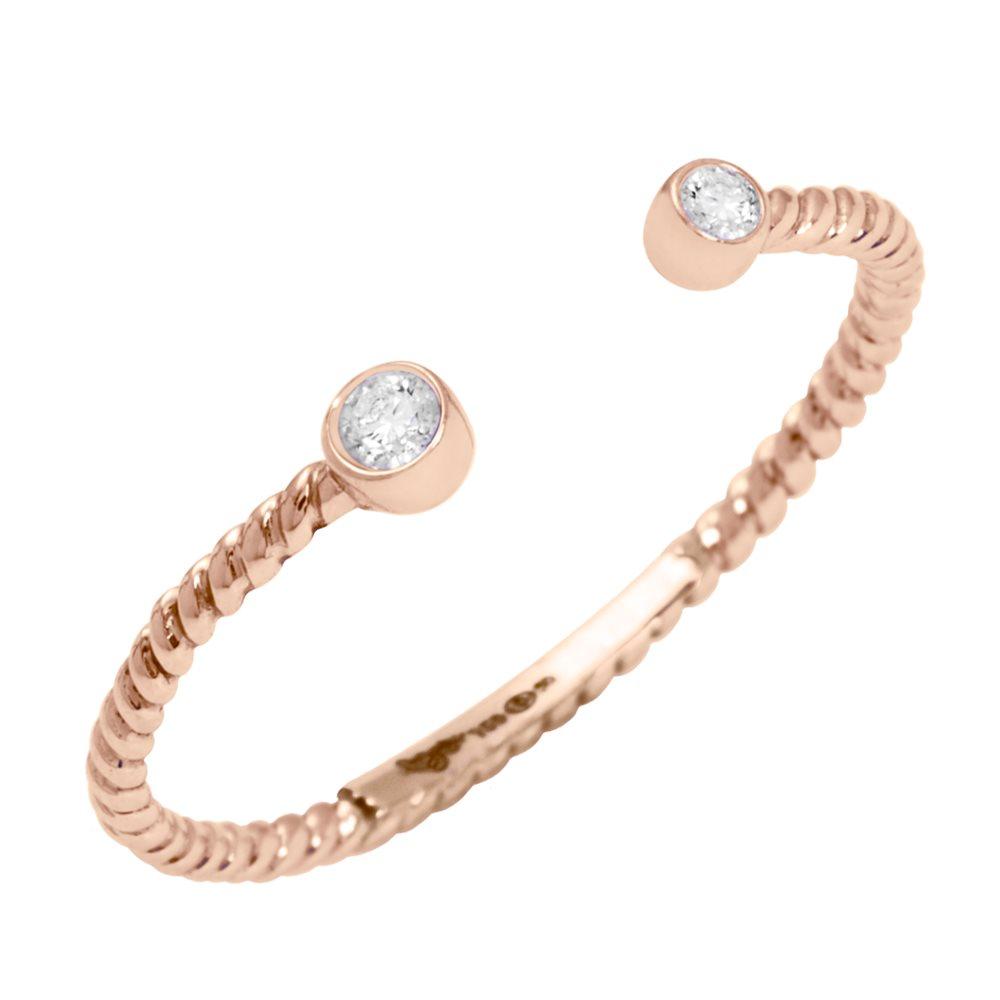 Diamini Toi et Moi Bague or rose et diamants Diveene Joaillerie