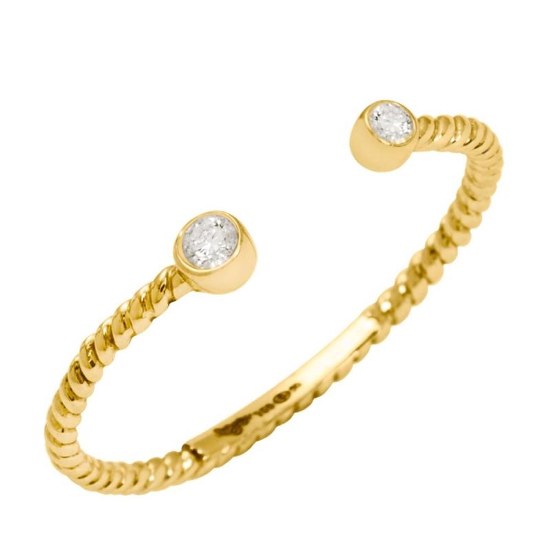 18k Yellow Gold Diamond Ring , Diamini Toi et Moi