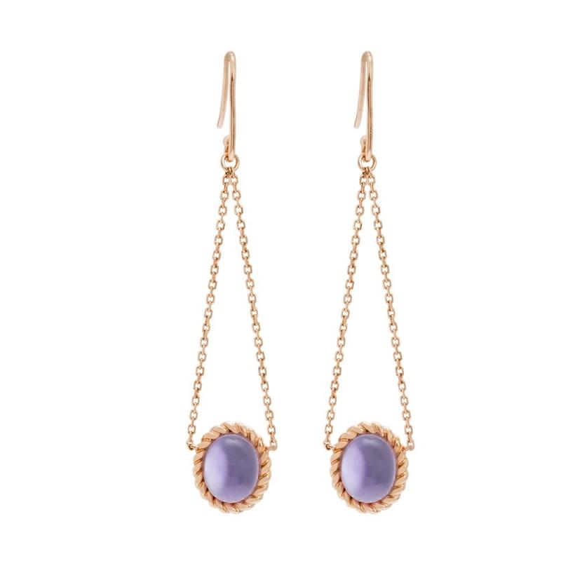 18k Pink Gold Amethyst Earrings, Berlingot Mini