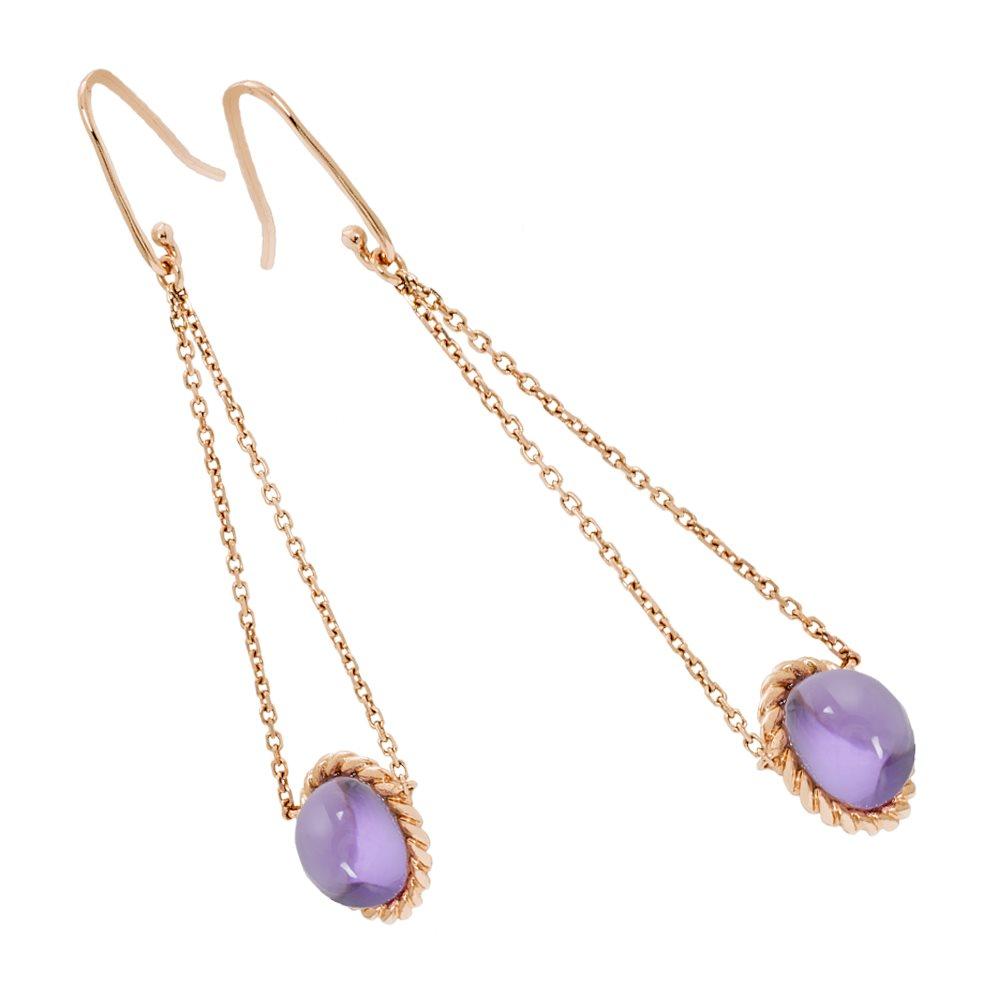 Berlingot Mini Boucles d'oreilles pendantes en or rose et amethystes Diveene joaillerie
