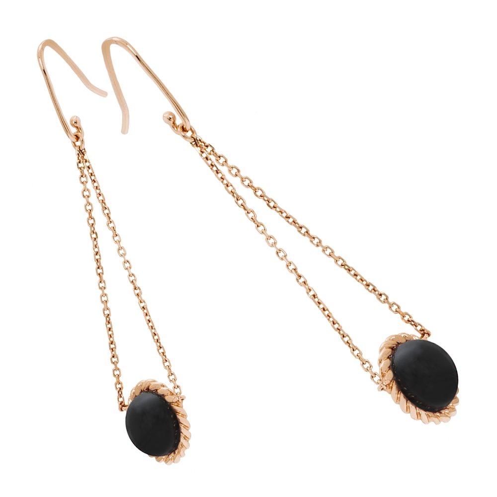 Berlingot Mini Boucles d'oreilles pendantes en or rose et onyx Diveene joaillerie