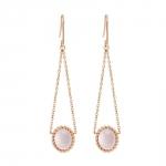 Berlingot Mini Boucles d'oreilles pendantes en or rose et quartz rose Diveene joaillerie