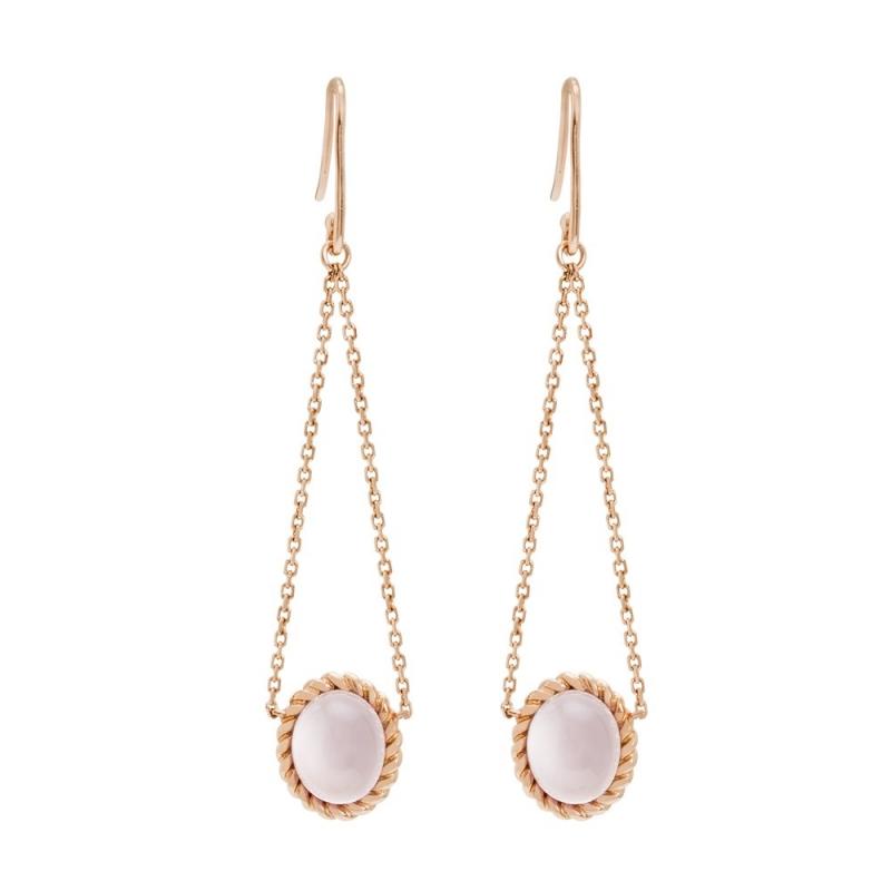 18k Pink Gold Quartz Earrings, Berlingot Mini