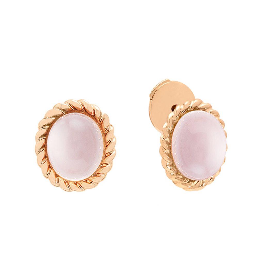 Berlingot Mini Boucles d'oreilles en or rose et quartz rose Diveene joaillerie
