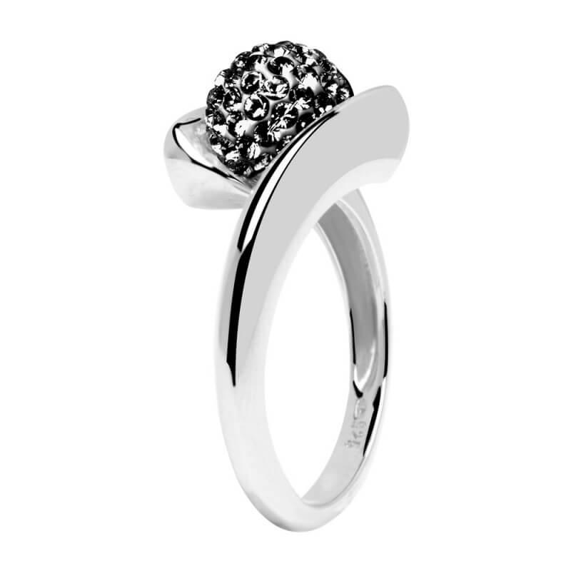 Bague en argent, cristal Swarovski, Rive Droite Black Diamond