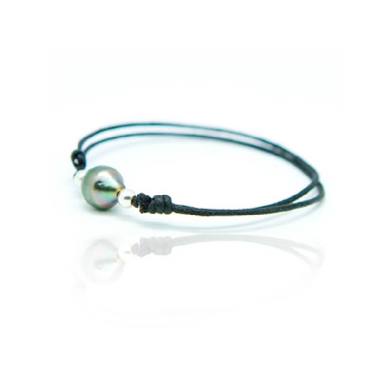 Bracelet coton ciré, Argent, Perle de Tahiti , Lonely Moon Noir