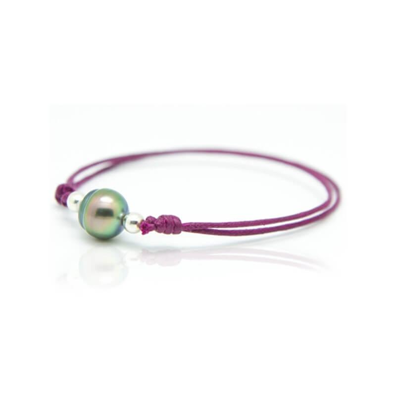 Bracelet coton ciré, Argent, Perle de Tahiti , Lonely Moon Violet
