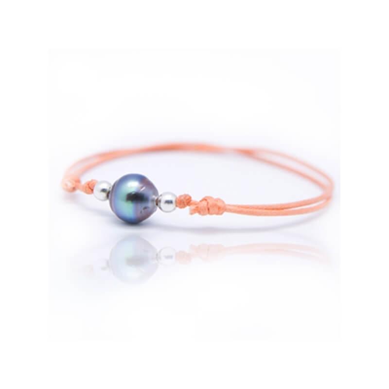 Bracelet coton ciré, Argent, Perle de Tahiti, Lonely Moon Mandarine