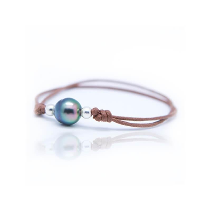 Bracelet coton ciré, Argent, Perle de Tahiti , Lonely Moon Chocolat
