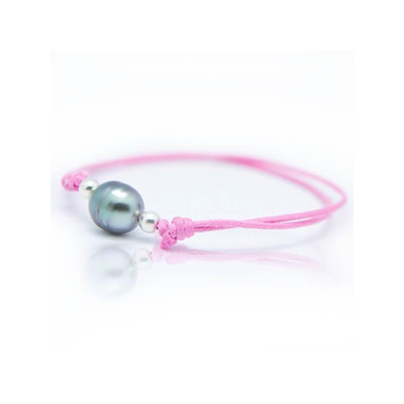 Bracelet coton ciré, Argent, Perle de Tahiti, Lonely Moon Rose