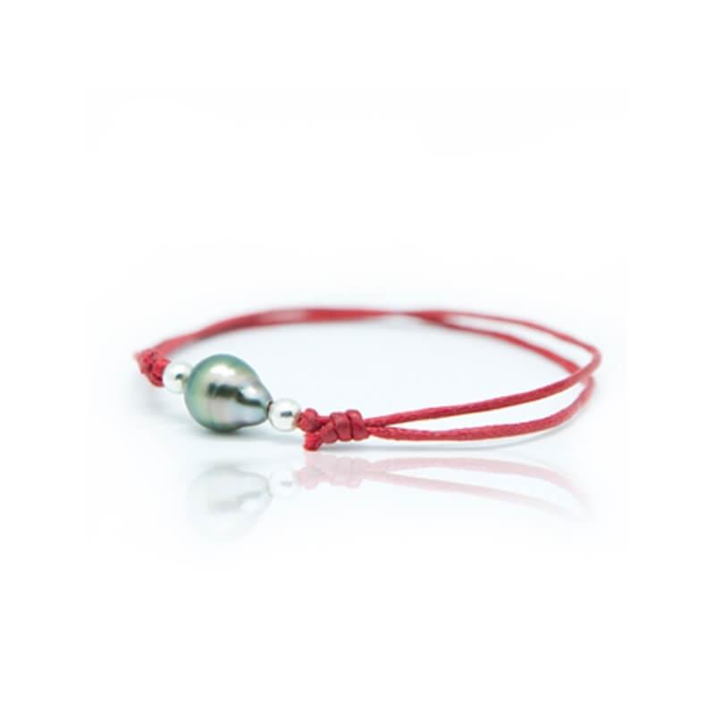 Bracelet coton ciré, Argent, Perle de Tahiti, Lonely Moon Rouge
