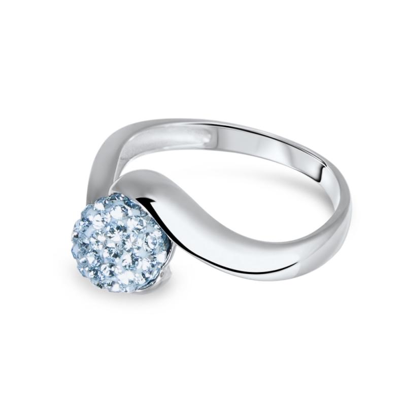 Bague en argent, cristal Swarovski, Petit Tourbillon Aquamarine