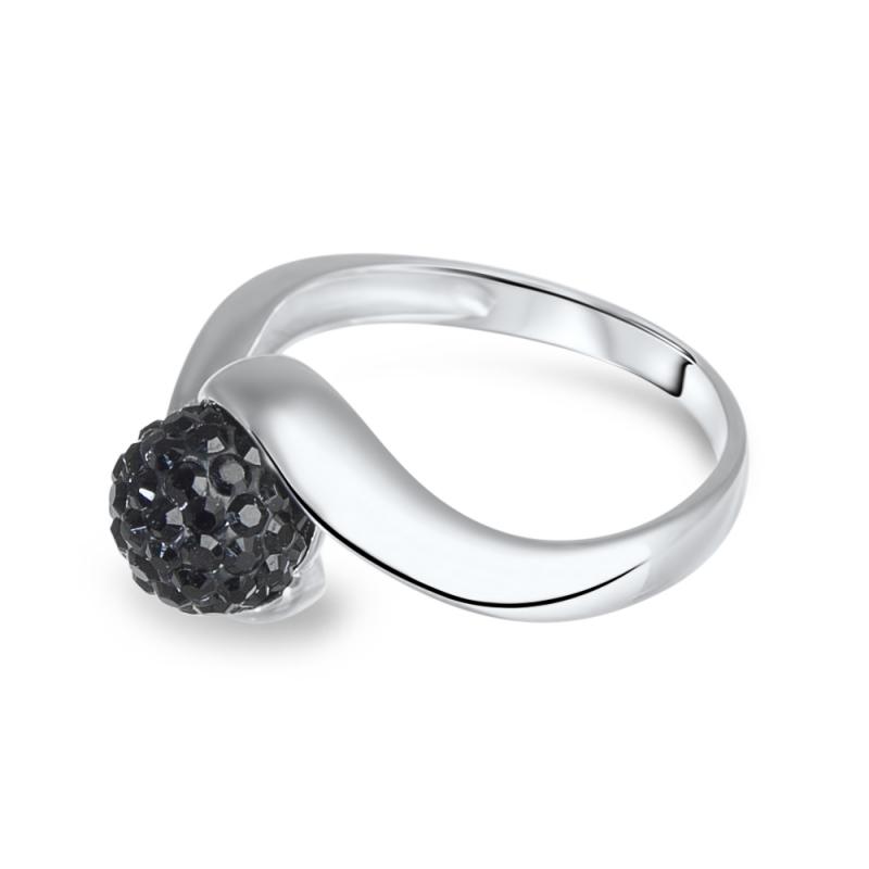 Bague en argent, cristal Swarovski, Petit Tourbillon Black Diamond