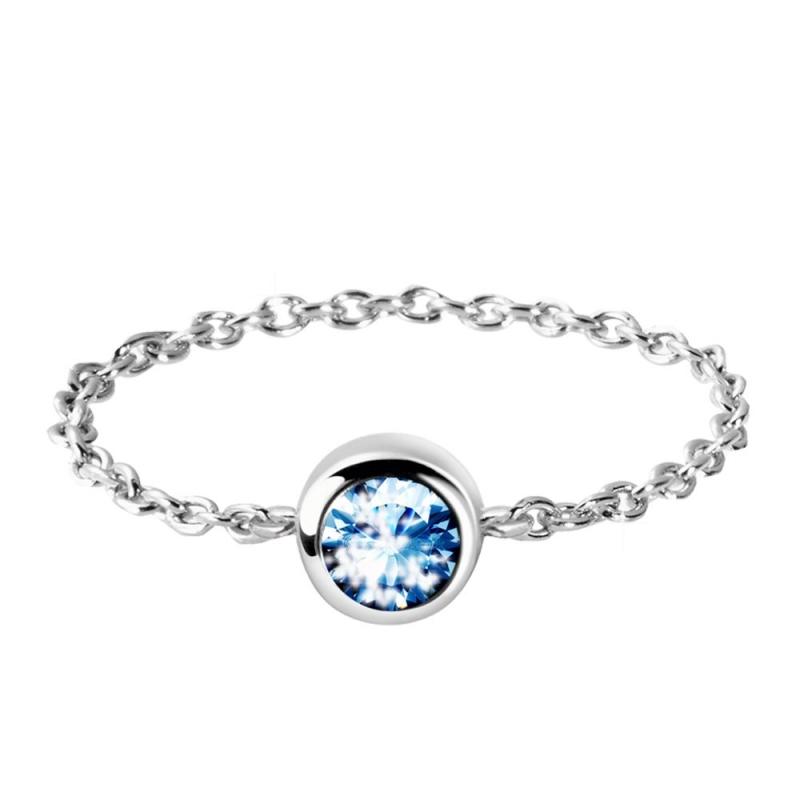 Bague en chaine argent, cristal Swarovski , Diveene Lady