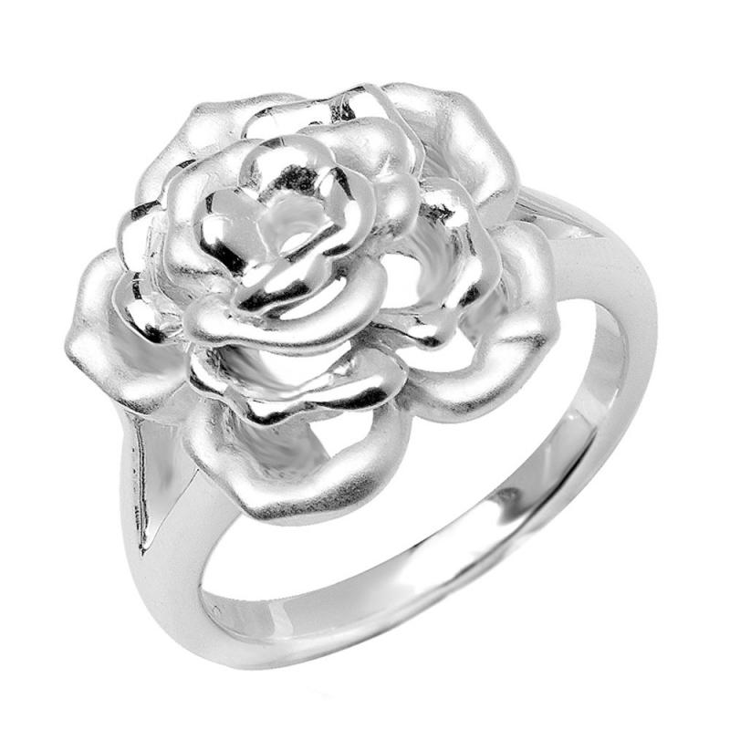 Bague en argent brossé , Lovely Rose