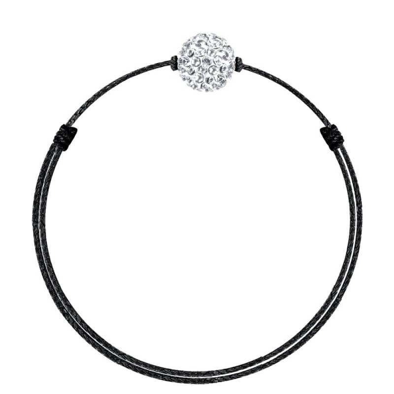 Bracelet coton ciré Mokuba, argent, cristal Swarovski, Crystal Glam Noir