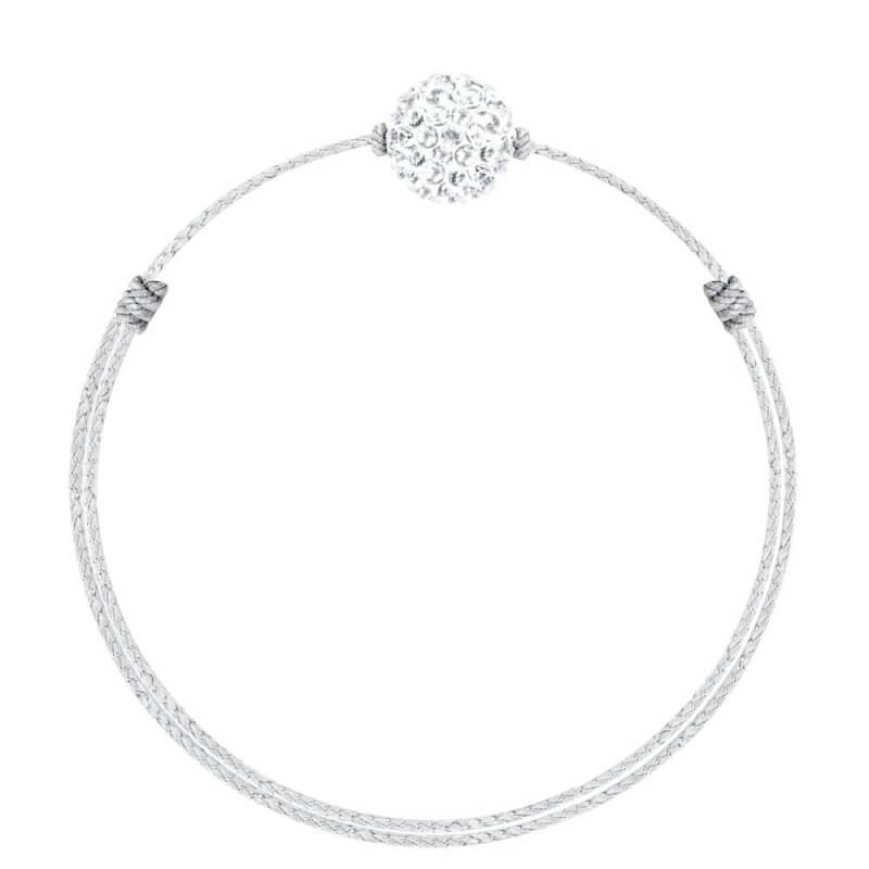 Bracelet coton ciré Mokuba, argent, cristal Swarovski , Crystal Glam Blanc