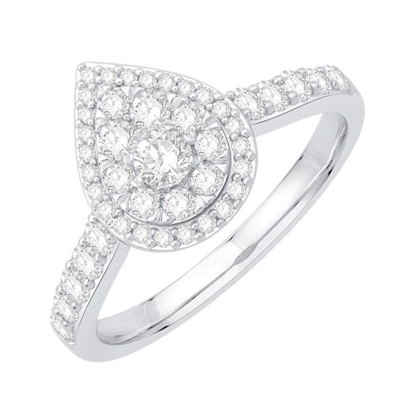 18k White Gold Diamond Ring , Indya