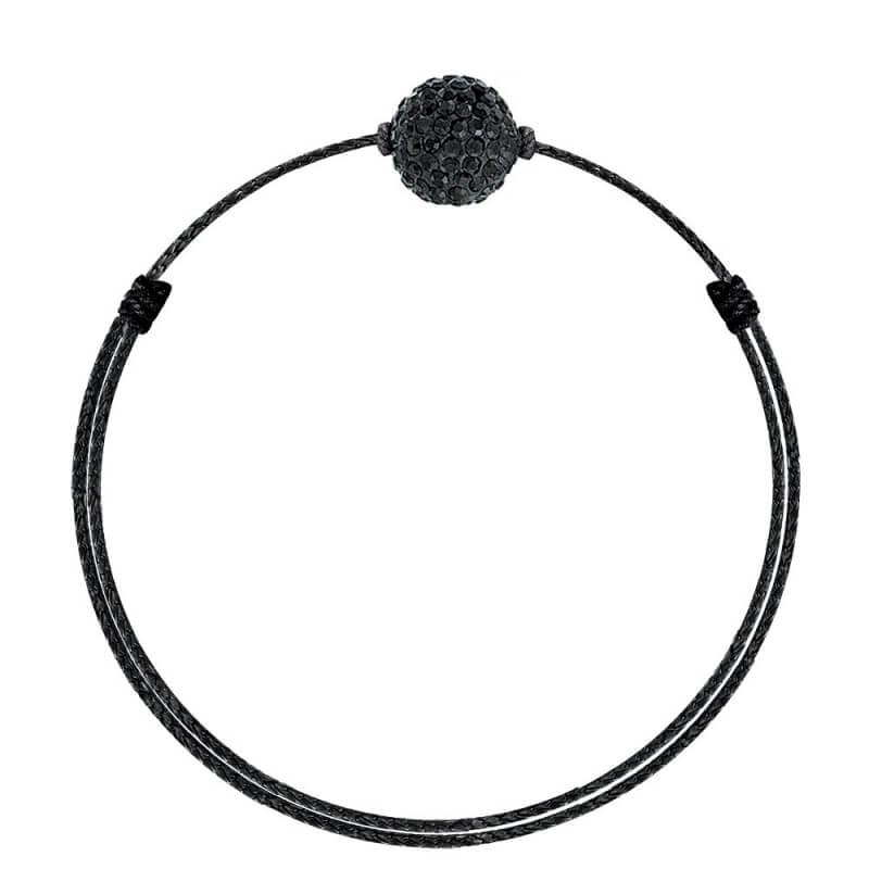 Bracelet coton ciré Mokuba, argent, cristal Swarovski, Crystal Glam All Black