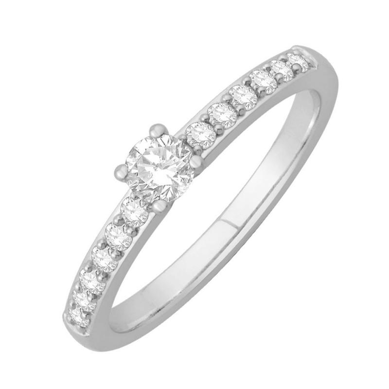 Bague solitaire or blanc, Diamants , Eryn 0.10 Ct