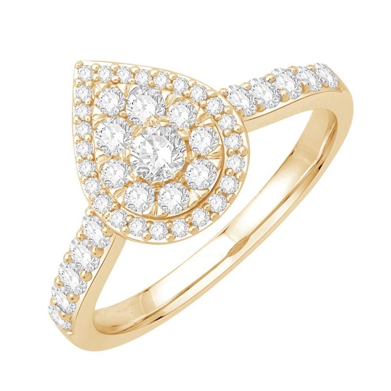 18k Yellow Gold Diamond Ring , Indya