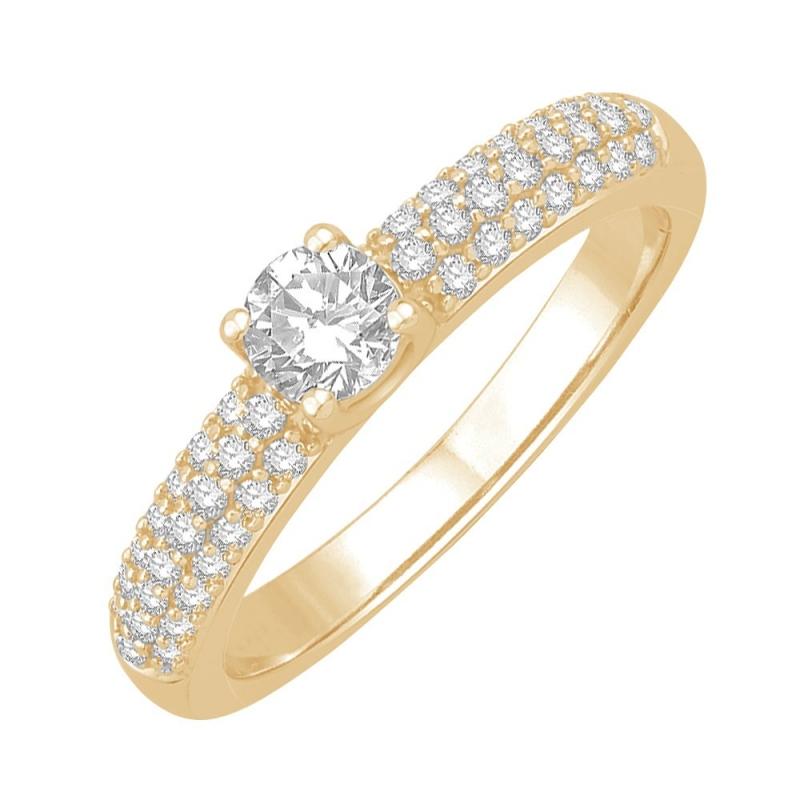 Bague solitaireor jaune, Diamants , Olympe 0.20 Ct
