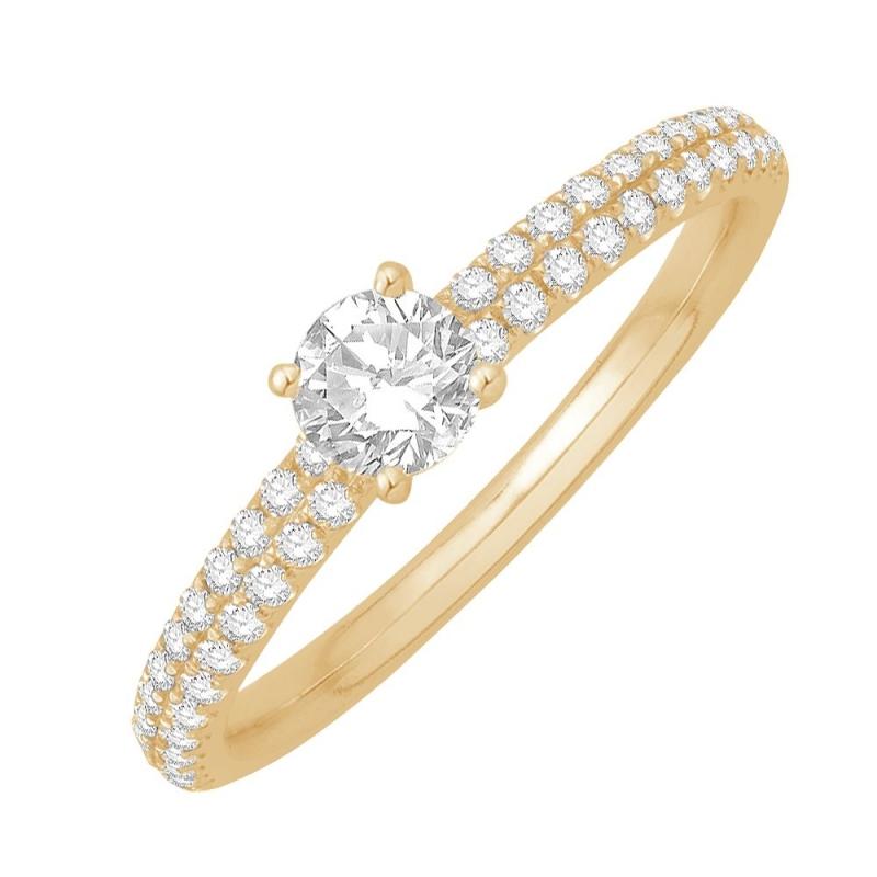 Bague solitaire or jaune, Diamants , Alice 0.10 Ct