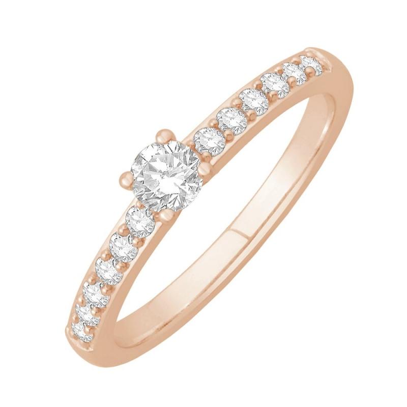 Bague solitaire or rose, Diamants , Eryn 0.10 Ct
