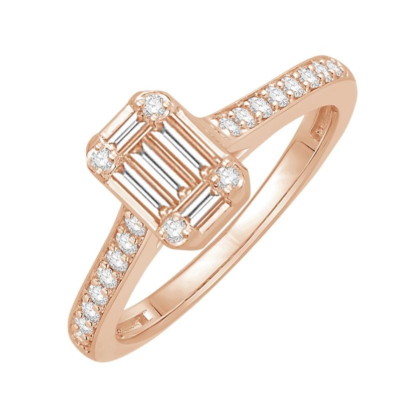 18k Rose Gold Diamond Ring , Frances