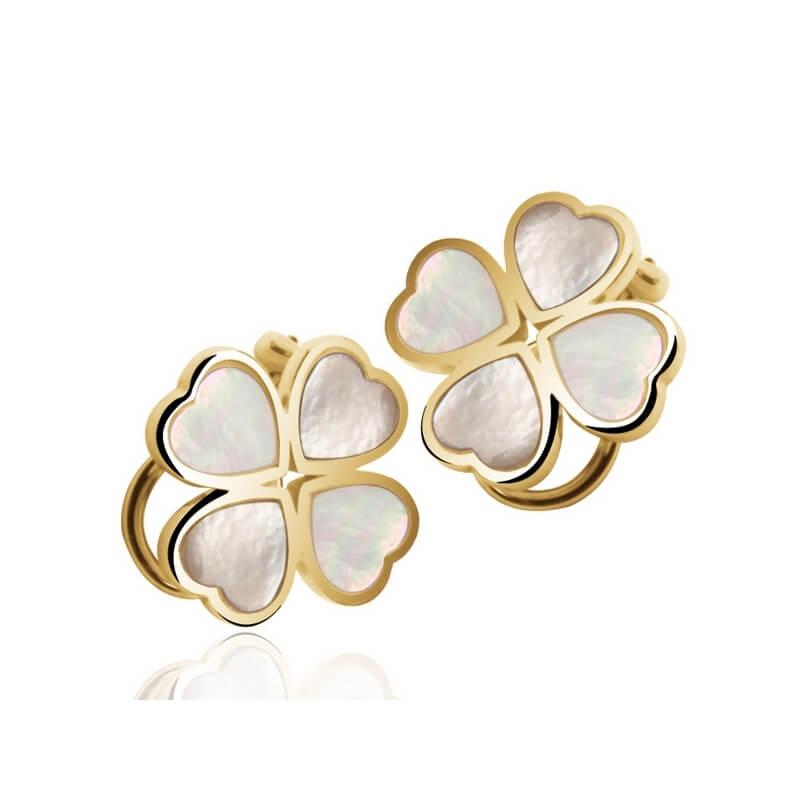 Boucles d'oreillles en or, Nacre naturelle, Fortuna Signature