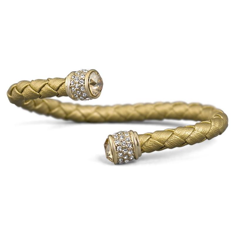 Bracelet esclave cuir doré et cristal Swarovski , Leggero
