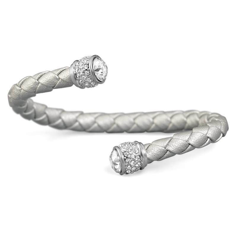 Bracelet esclave cuir argenté et cristal Swarovski , Leggero