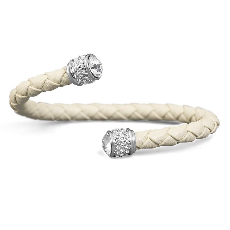 Bracelet esclave cuir sable et cristal Swarovski , Leggero