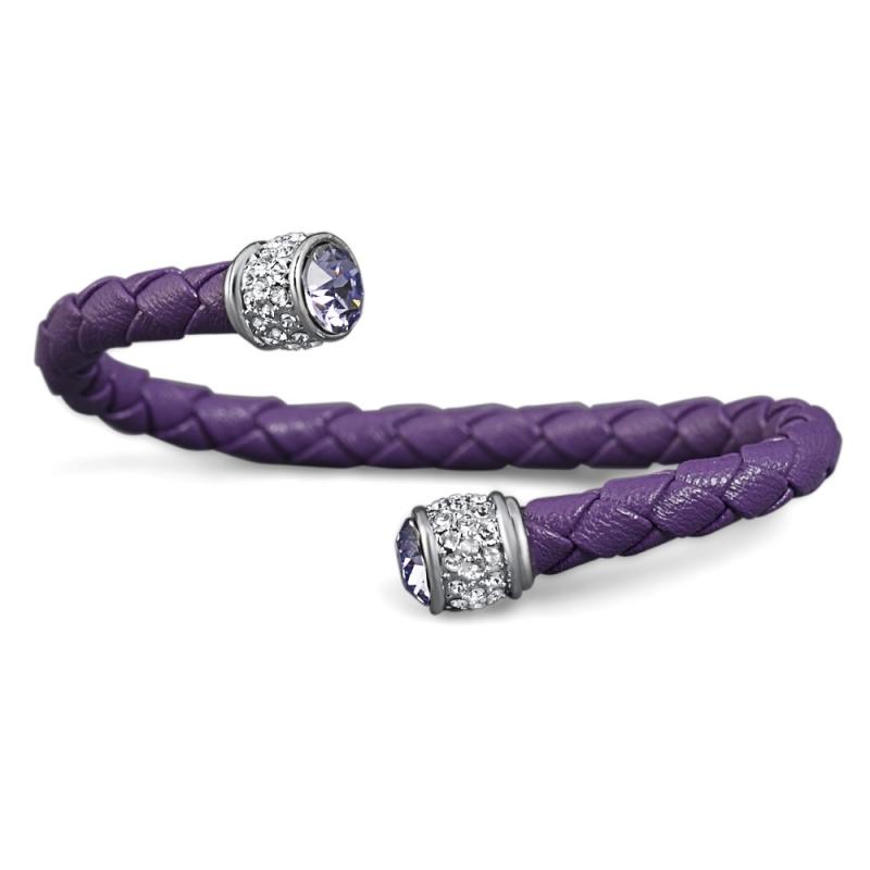 Bracelet esclave cuir violet et cristal Swarovski , Leggero
