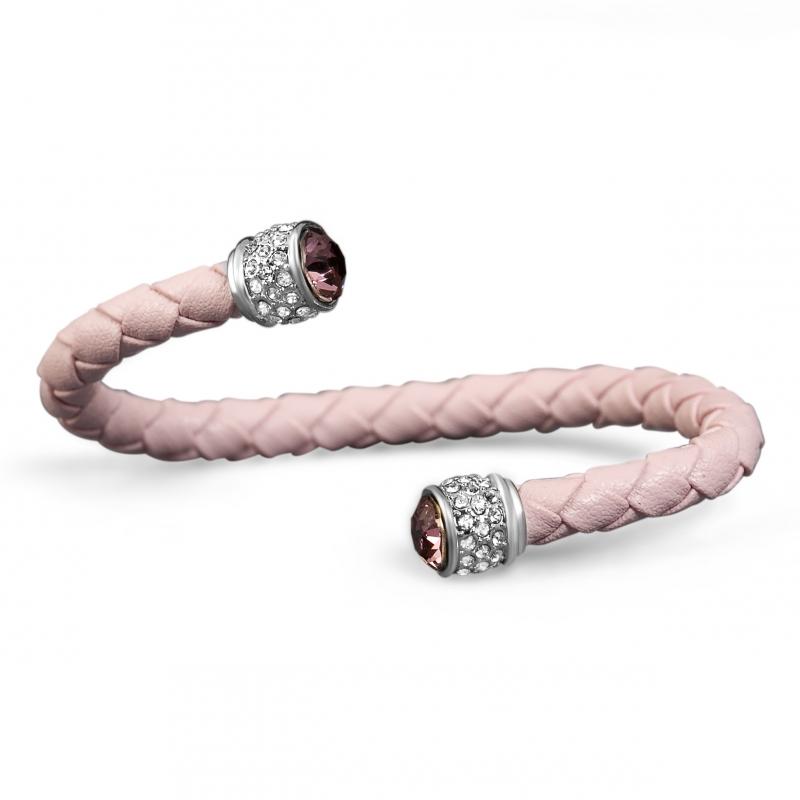Bracelet esclave cuir rose et cristal Swarovski , Leggero
