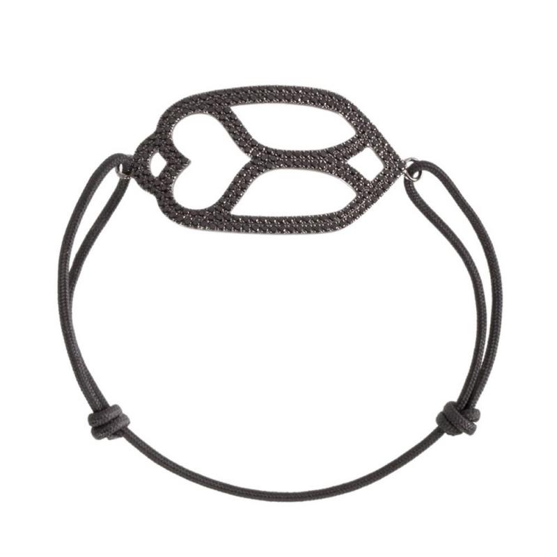 Bracelet cordon or noir, Spinelle , Purity