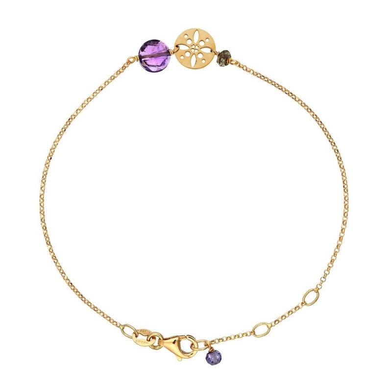 Bracelet Or jaune, Améthyste , Pastille Soleil