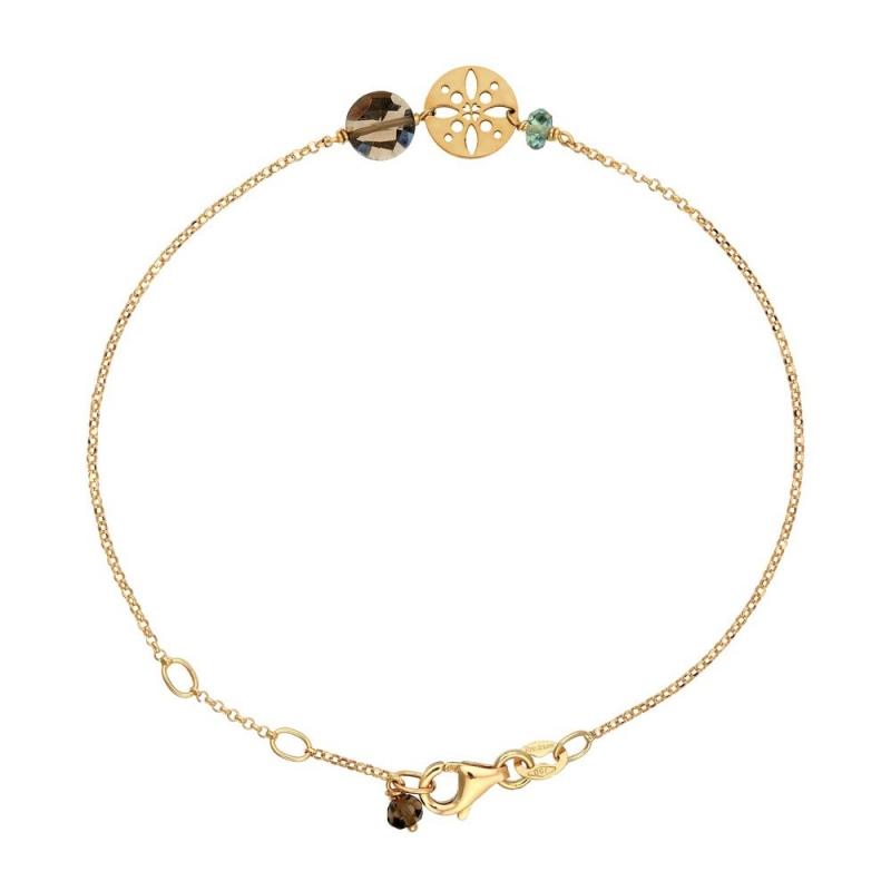 Bracelet Or jaune, Quartz fumé , Pastille Soleil