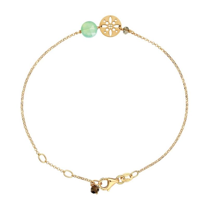 Bracelet Or jaune, Calcédoine verte , Pastille Soleil