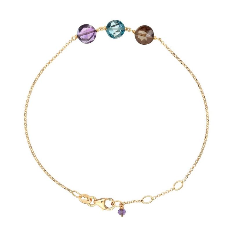Bracelet Or jaune, Améthyste, Topaze, Quartz , Pastille Trio