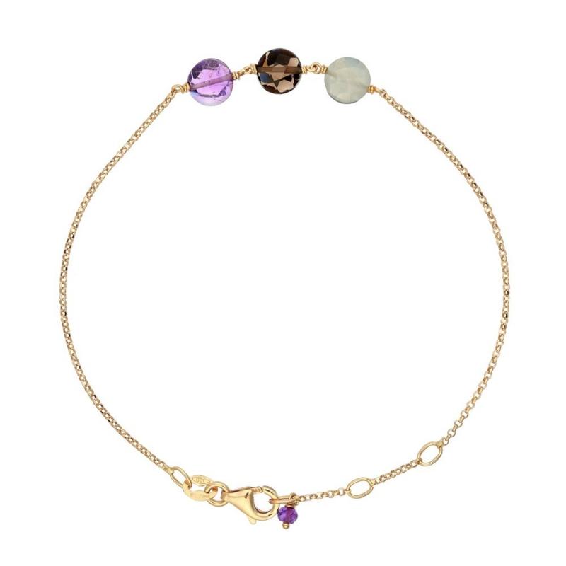 Bracelet Or jaune, Améthyste, Pierre de Lune, Quartz , Pastille Trio