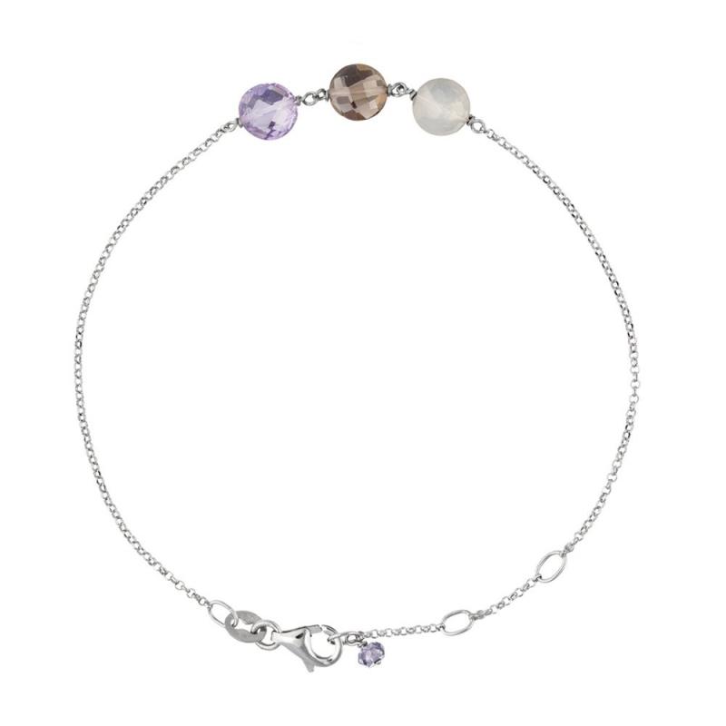 Bracelet Or blanc, Améthyste, Pierre de Lune, Quartz , Pastille Trio