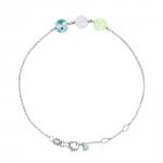 Pastille Trio Bracelet Or blanc, Calcédoine, Pierre de Lune, Topaze Diveene joaillerie Perle de lune
