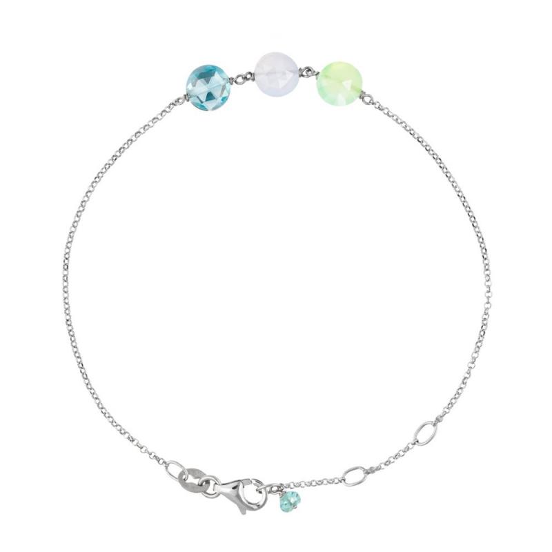 Bracelet Or blanc, Calcédoine, Pierre de Lune, Topaze , Pastille Trio
