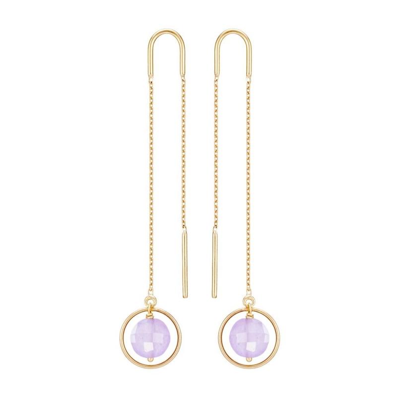 18k Yellow Gold Jade Earrings, Ellipse