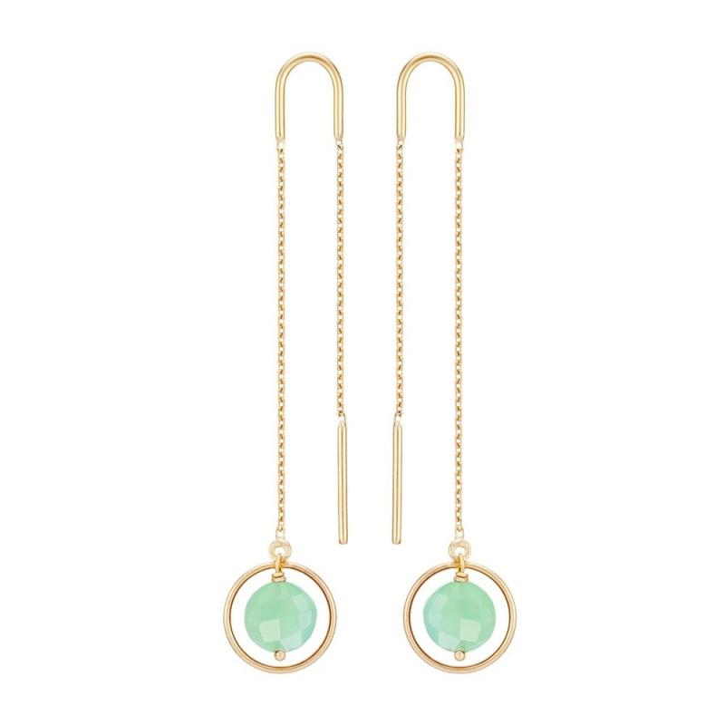 18k Yellow Gold Chrysoprase Earrings, Ellipse