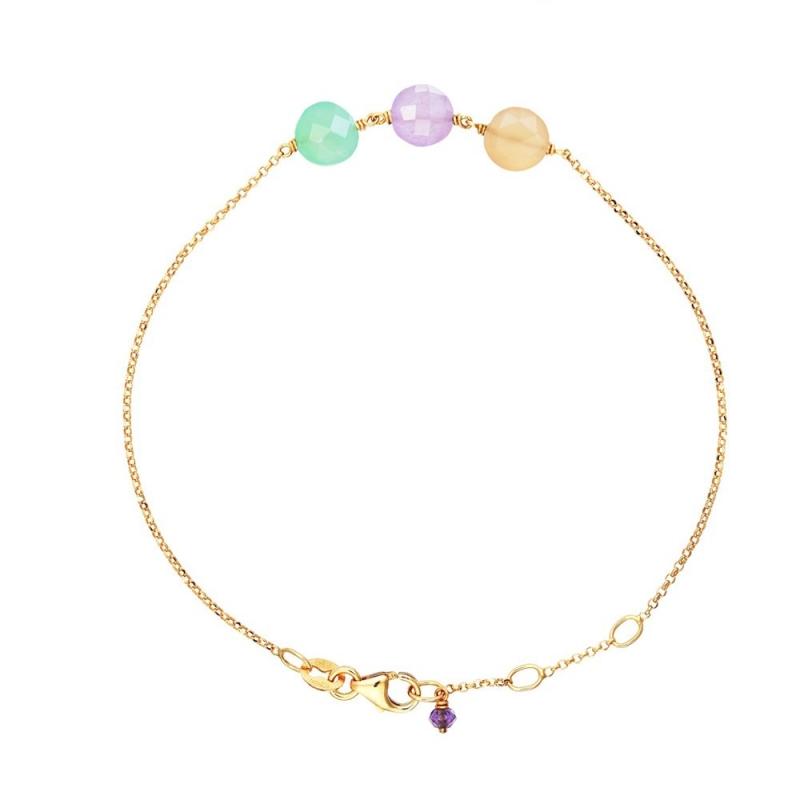 Bracelet Or jaune, Chrysoprase, Jades , Pastille Trio