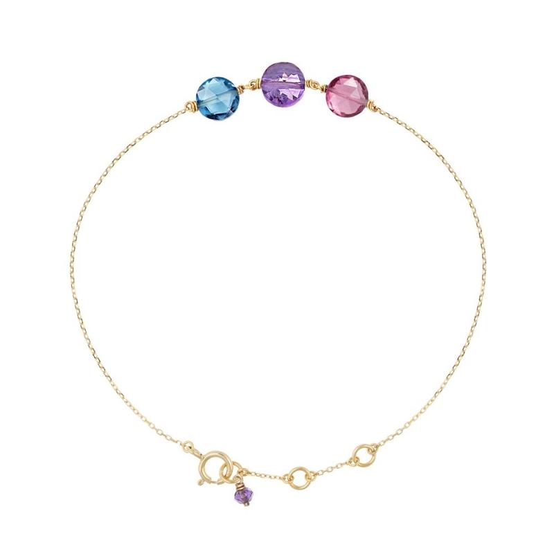 Bracelet Or jaune,  Chrysoprase , Jade orange, Jade lavande , Pastille Trio