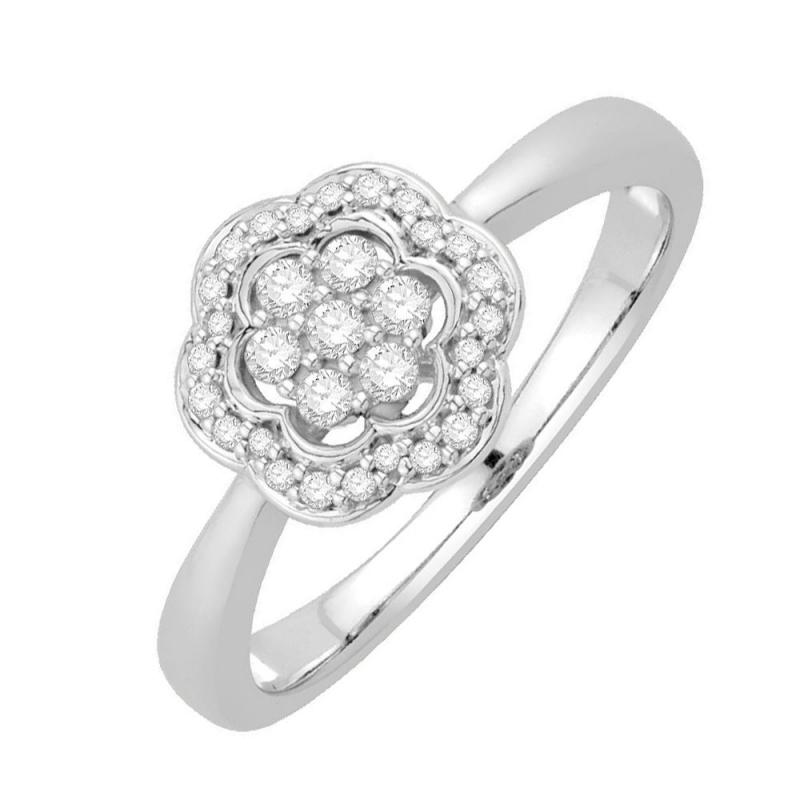 Bague or blanc 9 carats, Diamants, Jaina